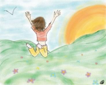 dessin d une femme qui saute de joie en direction du soleil réalisé par cecile jonquiere - cecile jonquieres