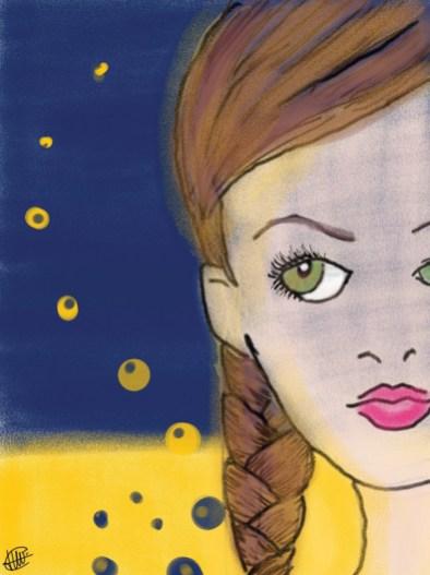 dessin d une partie de visage d une femme a la tresse sur fond nocturne et desertique réalisé par cecile jonquiere - cecile jonquieres
