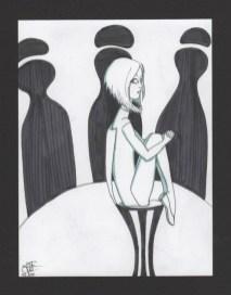 dessin representant une femme assise sur un haut tabouret