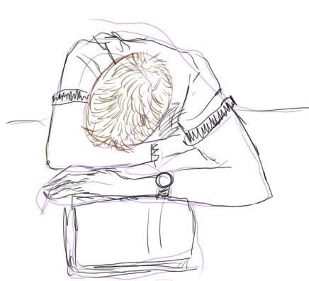 dessin representant un homme qui dort accoude sur une table réalisé par cecile jonquiere - cecile jonquieres