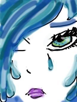 portrait d une femme aux cheveux bleus qui pleure