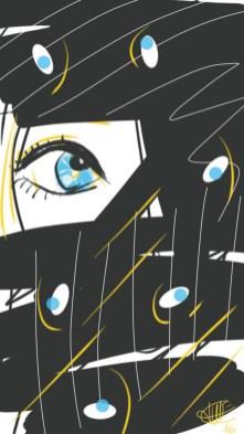 dessin de l'oeil d'une femme blonde derriere un rideau noir