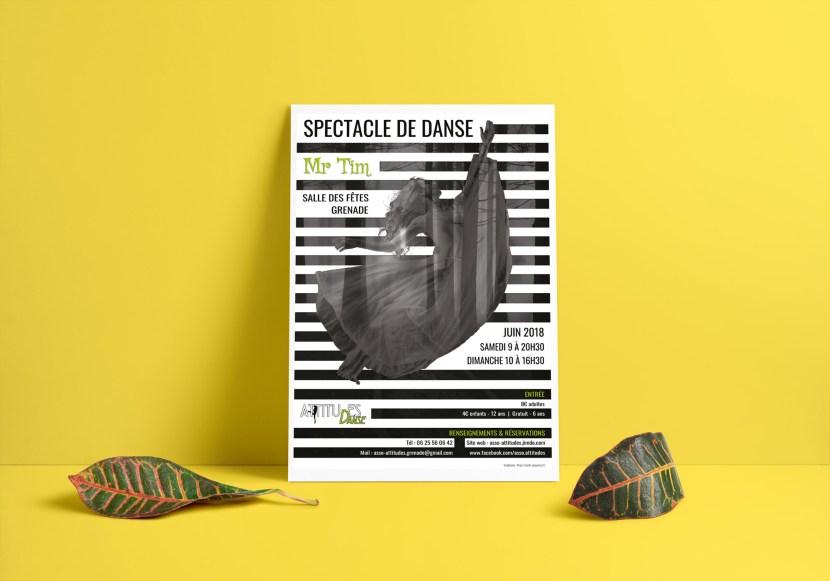 mock up affiche asso attitudes spectacle de danse de fin d annee 2018 réalisé par cecile jonquiere - cecile jonquieres