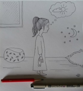 dessin representant une petite fille somnambule qui reve de beau temps