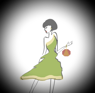 dessin d une femme classe en robe verte