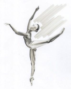 esquisse d une danseuse faisant une arabesque