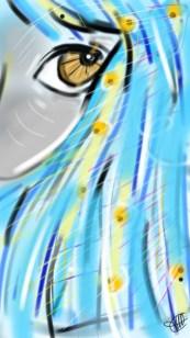 dessin de la moitie du visage d une femme aux cheveux bleus