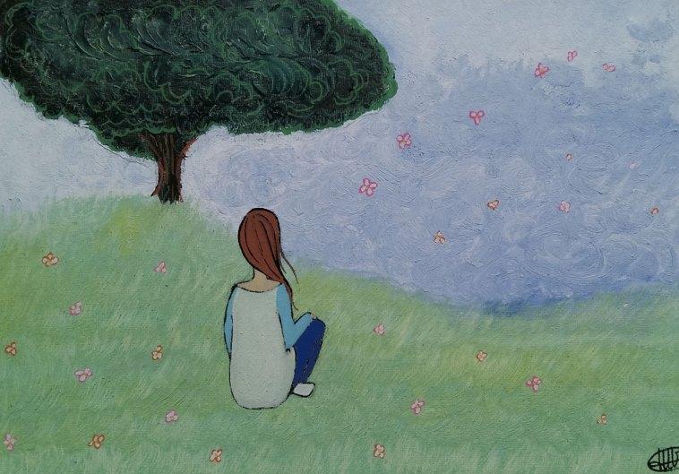 peinture representant une femme assise en tailleur dans un pre ou volent des fleurs