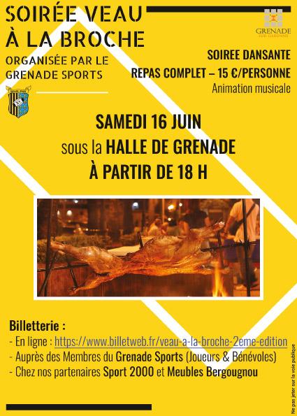 flyer pour la fête du club de rugby Grenade Sports réalisé par cecile jonquiere - cecile jonquieres