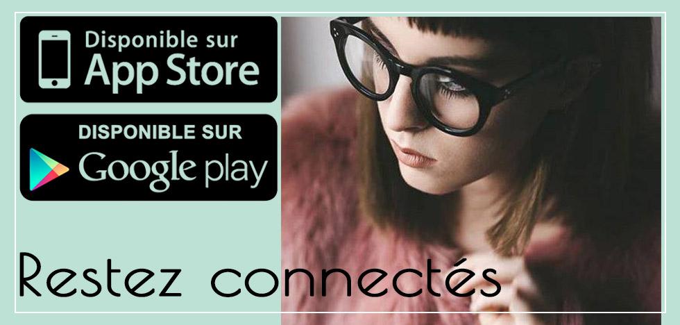slide3-restez connectés-une jeune femme avec des lunettes épaisses et les logos play store et google play