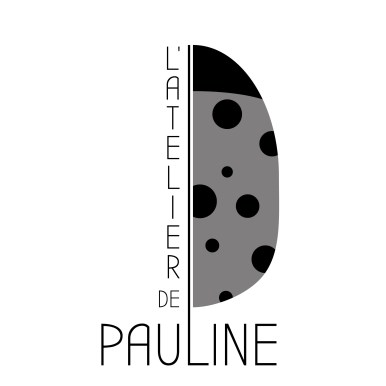logo atelier pauline styliste ongulaire representant une coccinelle en noir et blanc