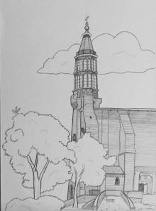 Dessin stylisé de l'église de Montauban 82