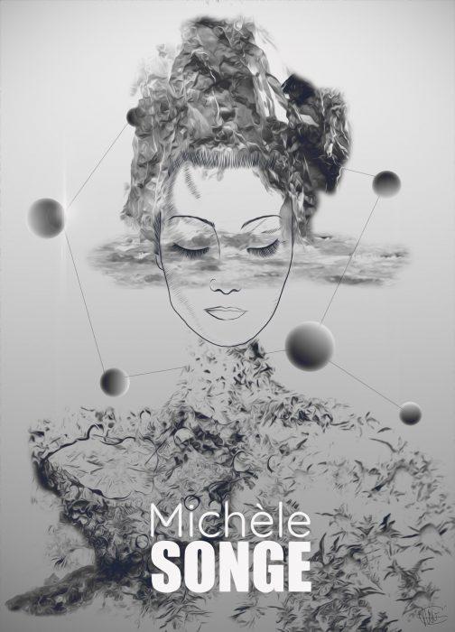 affiche michele songe dessin de michele morgan en photo montage
