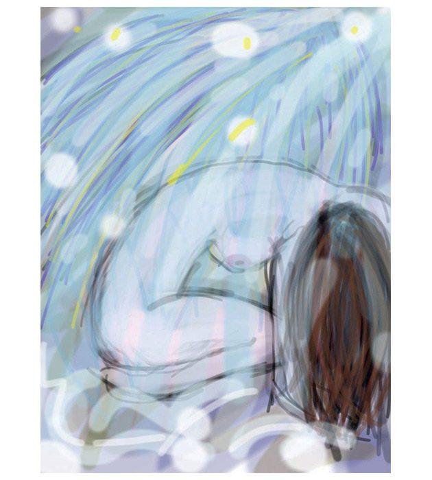 Dessin Sous une pluie d'étoiles créé par Cécile Jonquières Graphiste webdesigner illustratrice 31