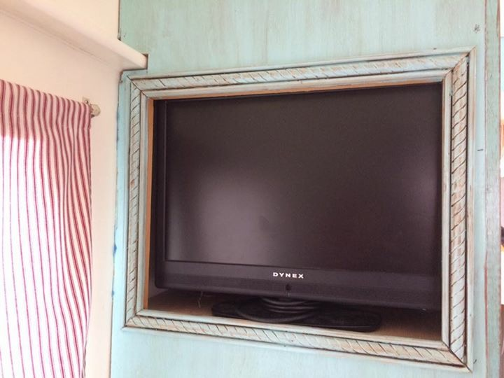 Hidden TV in vintage camper