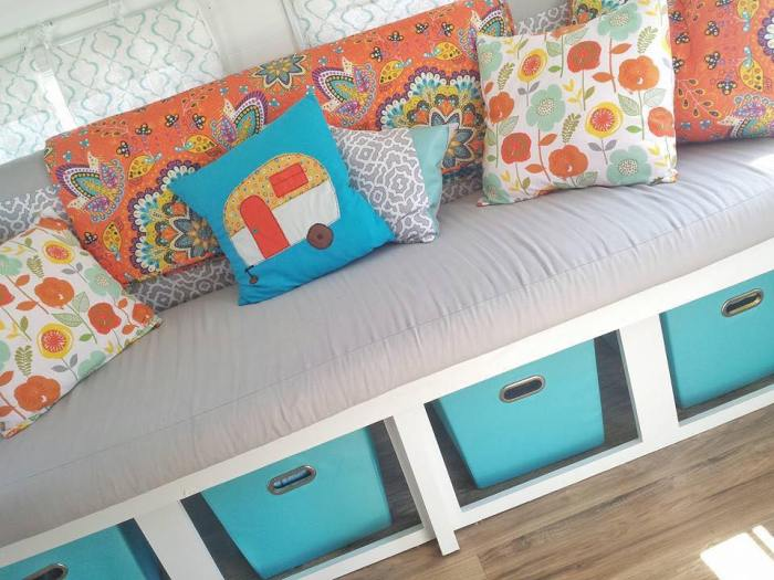orange and teal vintage trailer