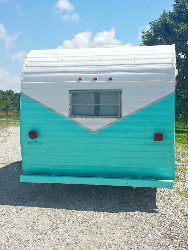 teal vintage camper