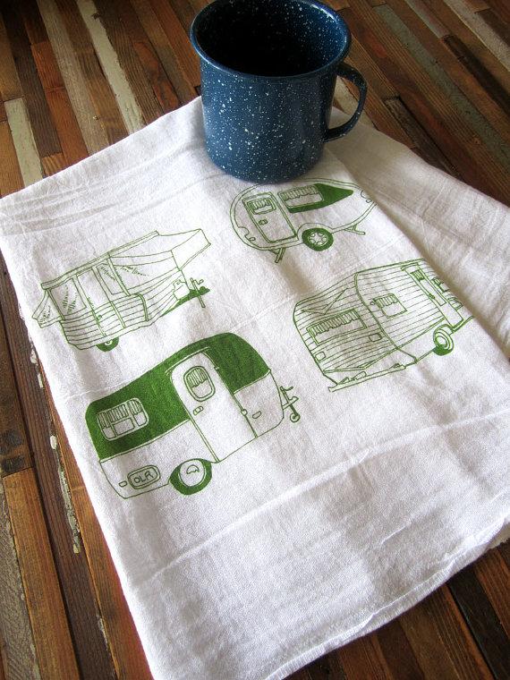 vintage campers tea towel