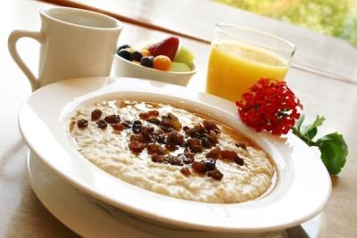 eating breakfast