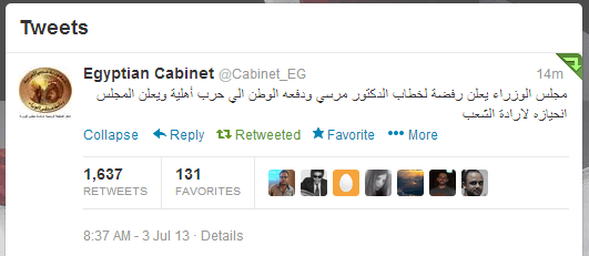 The statement was issued on the cabinet's official Twitter page