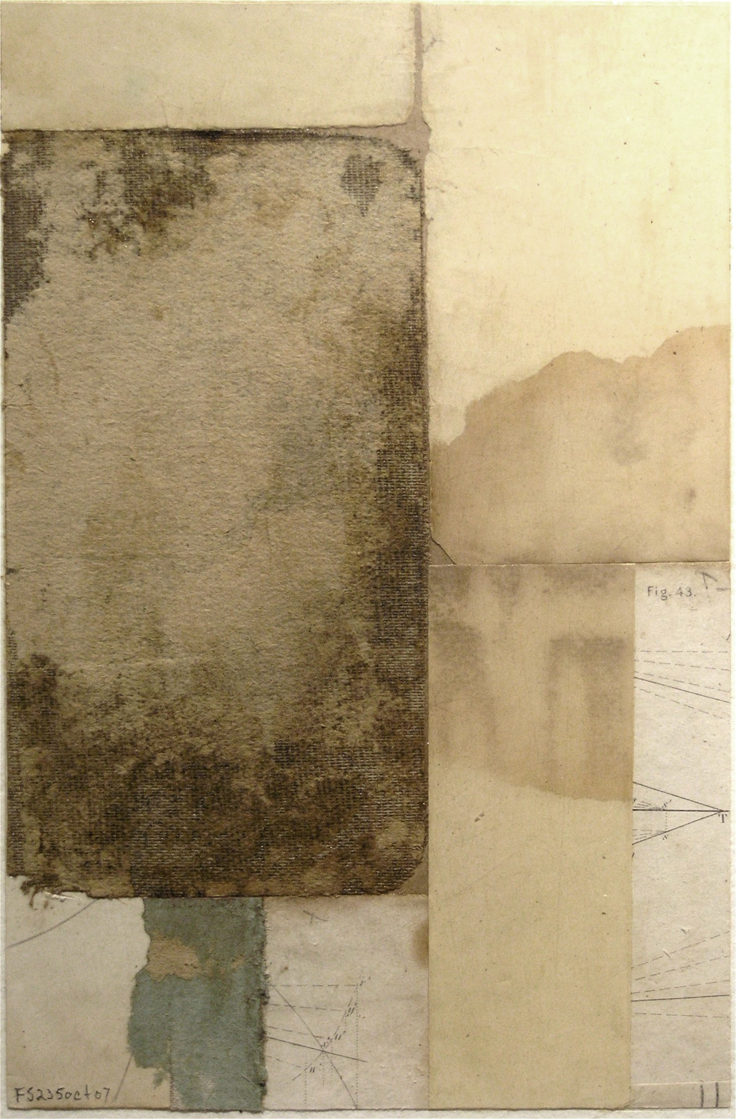 Fusion Series #2350 - 2007 - collage with found paper - 6x4 inches mounted on watercolor paper