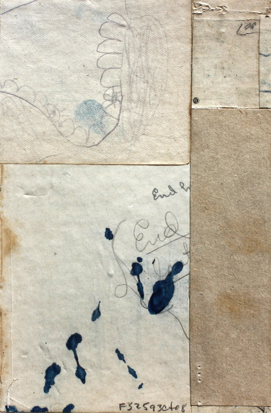 Fusion Series #2593 - 2008 - collage with found paper - 6x4 inches mounted on watercolor paper