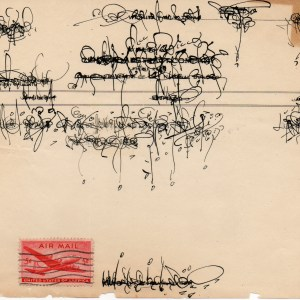 Asemic Correspondence - 2010 - ink over 1920's invoice paper with antique postage stamp attached