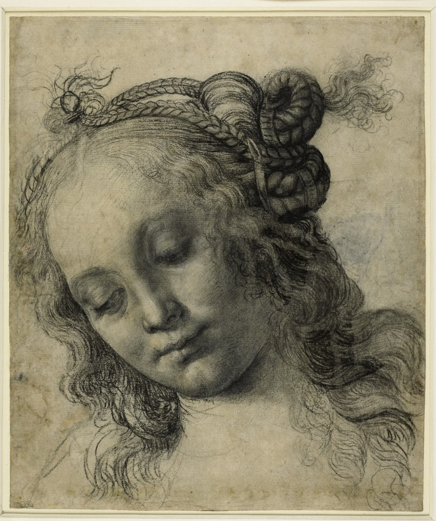 Andrea Verrocchio - Head of a Woman drawing, British Museum