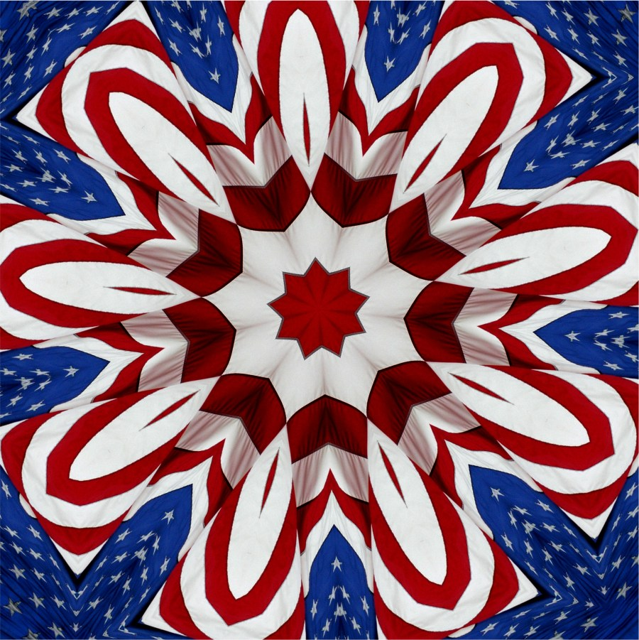 Photo of an American Flag put through a digital filter