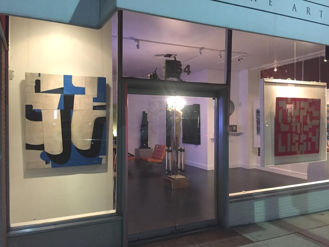 Artworks by Cecil Touchon in the window at Timothy Yarger Fine Art - Beverly Hills, CA