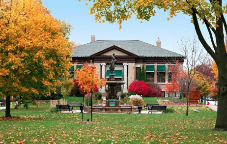 Front view of Whitewater Cultural Arts Center in the fall
