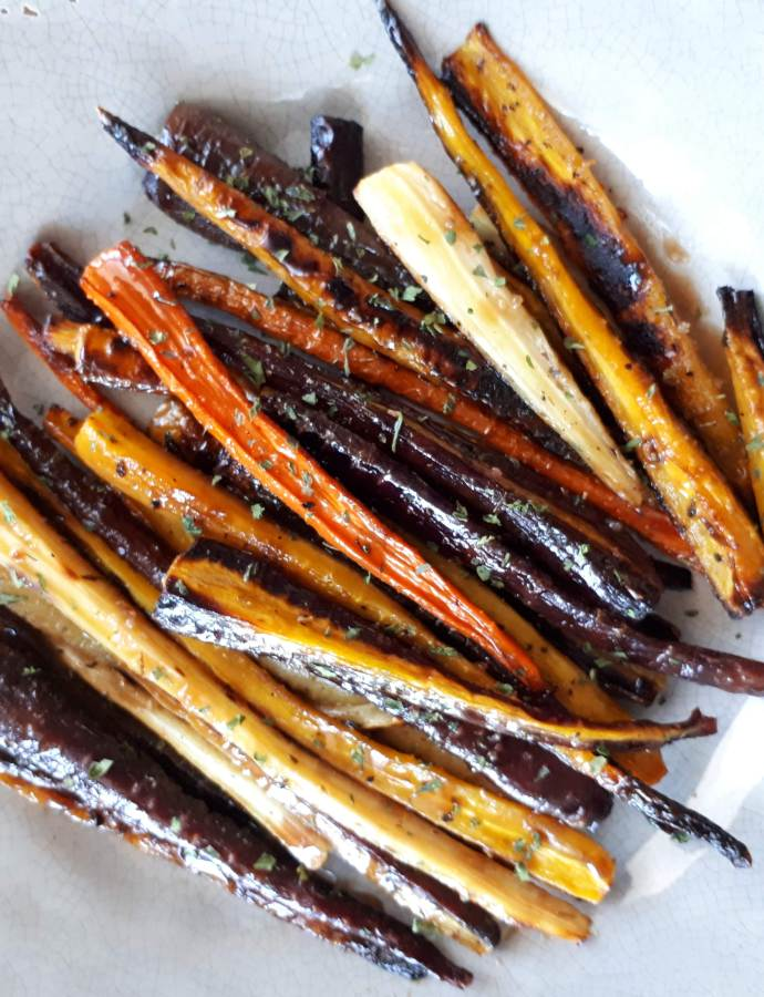 Rainbow Carrots!Carote arrosto glassate