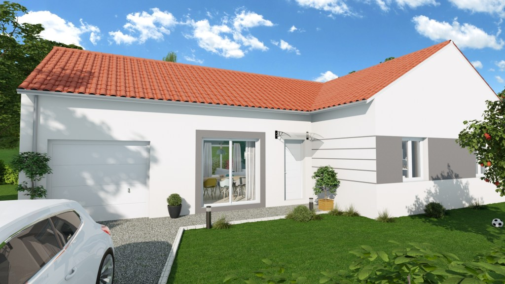 Exterior rendering of 3D house project