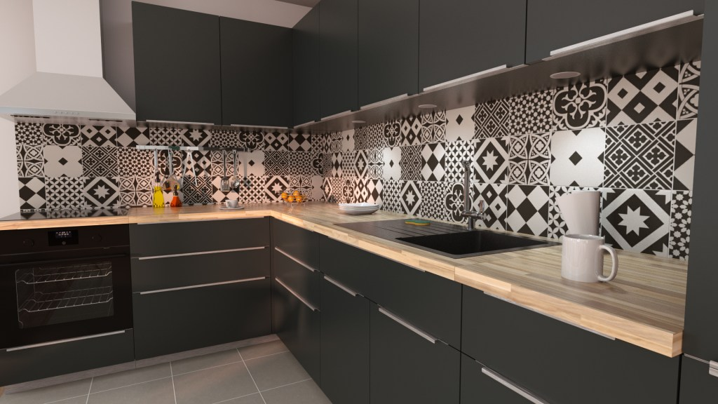 3D kitchen remodel with vintage splash tiling