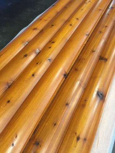 Custom Milled Western Red Cedar Log Cabin Siding Pre-stained with Penetrating Oil