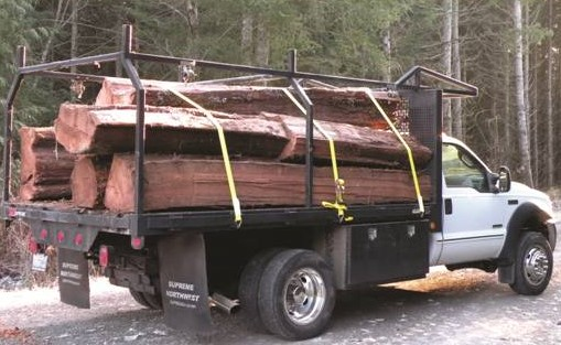 Western Red Cedar cants being transported for milling