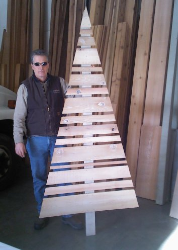 Rustic Western Red Cedar Christmas Tree with Whitewash applied