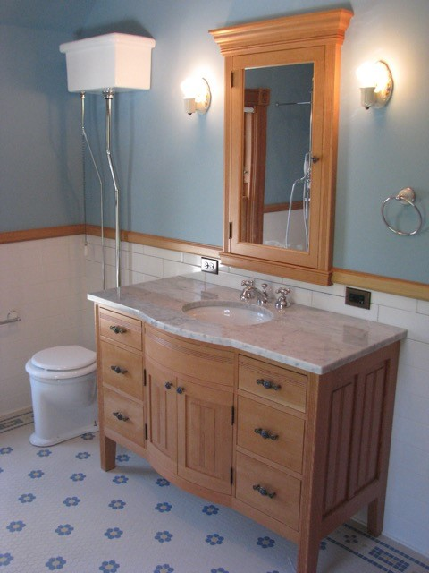 Beautifully crafted vanity and Doug Fir trim
