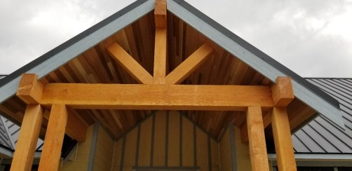 Doug Fir Timbers and Clear Cedar Soffit entryway