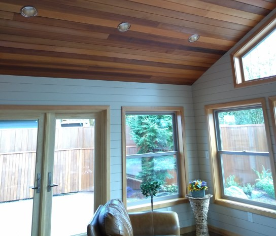 pine shiplap interior walls combined with natural Western Red Cedar ceiling accent