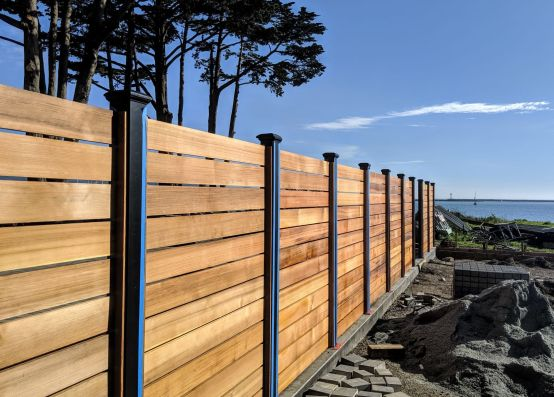 "1x6"" clear vertical grain Western Red Cedar boards used for a custom horizontal fence"