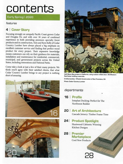 Cedar Country Lumber focuses on uniquely Pacific Coast-grown Cedar and Douglas Fir