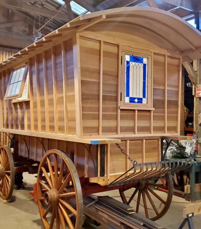 A horse drawn Gypsy Wagon made from high quality clear Western Red Cedar