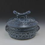 Blue Eagle Pottery's 1qt. Casserole in Oil Spot Blue