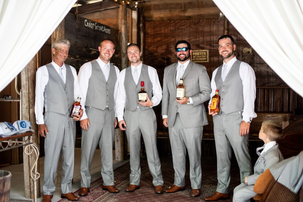 Groomsmen hanging out in the Bull Pen
