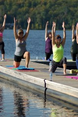 yoga on dock, women's fitness retreat