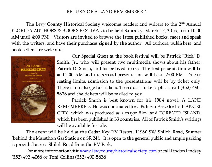 JAN 24 TONI LAND REMBRED Bk fest news release 01 27 16