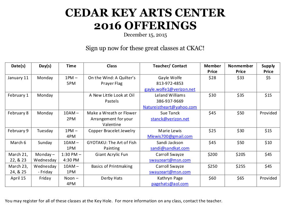 DEC 15 CKAC 2016 OFFERINGS