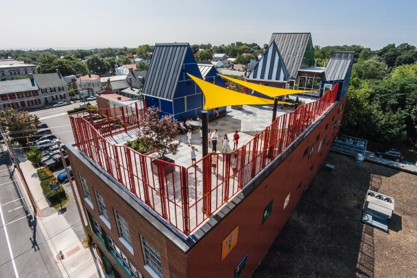 The new, very colorful rooftop of the Shenandoah Valley Discovery Museum in Old Town Winchester