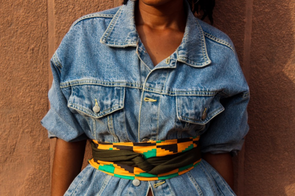oversized denim jacket and ankara belt